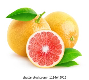 Isolated citrus fruits. Two and a half grapefruits isolated on white background with clipping path