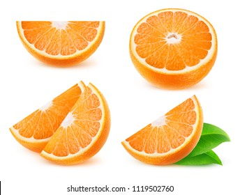 Isolated citrus slices. Collection of cut orange fruits isolated on white background with clipping path