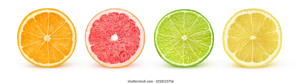 Isolated citrus slices. Fresh fruits cut in half (orange, pink grapefruit, lime, lemon) in a row isolated on white background with clipping path - Shutterstock ID 1018123756