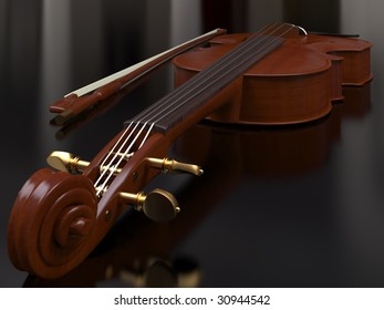 isolated classic violin on reflecting background