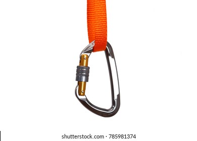 Isolated Climbing carabiner with safety lock mechanism attached to an orange nylon webbing