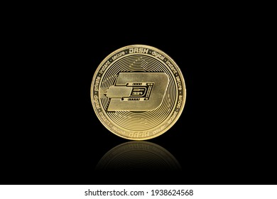 Isolated with clipping path, the golden DASH Coin symbol close up. DASH coin is one of the digital currency - cryptocurrency driven by blockchain technology.