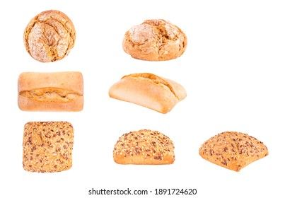 Isolated clipping path white background of organic flour mixed gold brown bread homemade baked italian ciabatta french toast baguette whole wheat rye oat loaf with healthy seed gluten free