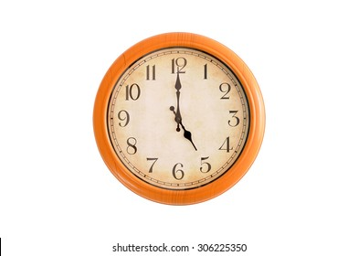 Isolated clock showing 5:00 o'clock