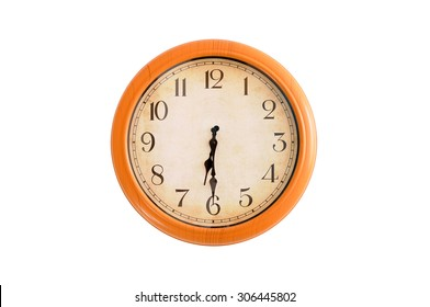 Isolated clock showing 6:30 o'clock
