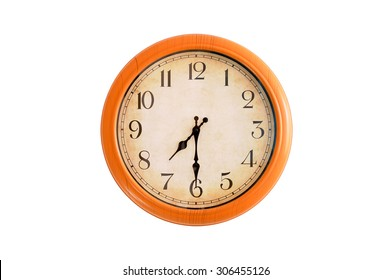 Reloj aislado que muestra las 7:30 en punto
