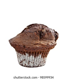 An isolated close up of a double chocolate muffin.