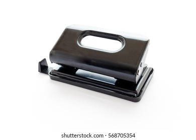 Isolated close up paper punch on a white background. Office tool.