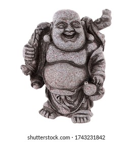 Isolated close up view of souvenir statuette of gray Buddha on white background.