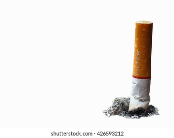 Isolated closeup cigarette butt on white background, unhealthy, no smoking day
