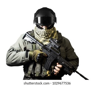 Isolated closeup photo of a fully equipped military soldier standing with rifle, helmet and jacket front view.