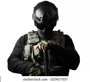 Isolated closeup photo of a fully equipped swat soldier standing with rifle front view pose.