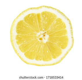 isolated closeup of a slice of lemon on a white background
