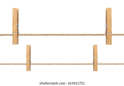 Isolated clothespins. Wooden clothespins on rope isolated on white background with clipping path