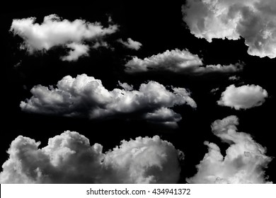 isolated clouds set over black