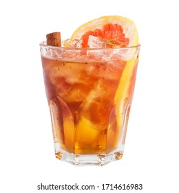 Isolated cocktail in rocks glass decorated with grapefruit and cinnamon stick