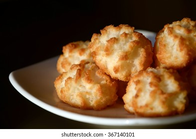 Isolated Coconut cookies on a plate