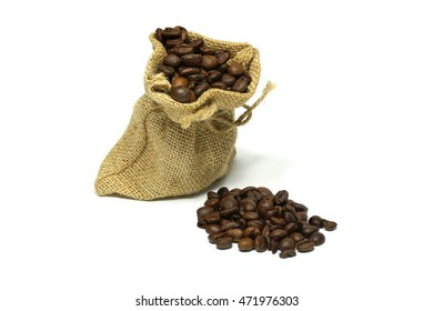 Isolated coffee beans in a burlap sack on white background