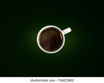 Isolated coffee cup on dark green background.