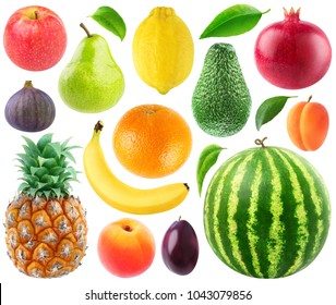Isolated collection of fresh fruits. Apple, pear, lemon, orange, banana, pineapple, fig, peach, plum, avocado, pomegranate, apricot and watermelon isolated on white background with clipping path