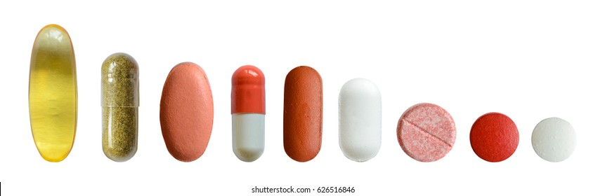 Isolated Collection Of Various Medical Tablets And Pills