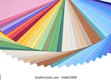 Isolated Color palette guide. Paper fan on white background.