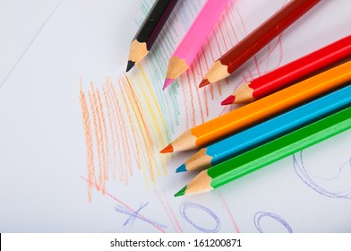 Isolated color pencils, vivid composition