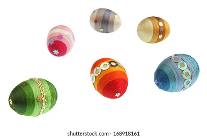 Isolated colorful eggs of Easter