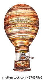 Isolated colorful hot air balloon. Illustration by Eugene Ivanov.