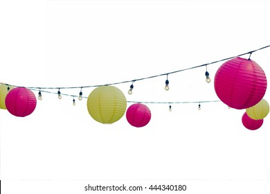 isolated colorful of Paper lantern and light lamp for decoration on white background with clipping path