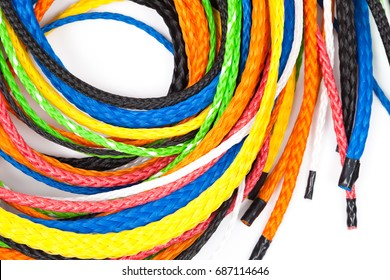 Isolated colorful plastic rope  on white background