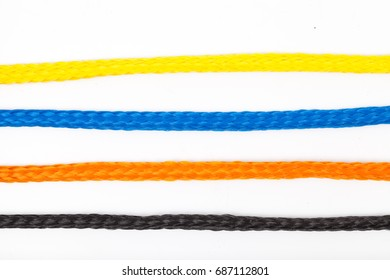 isolated colorful plastic rope straight line on white background