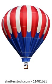 Isolated colorful, red white & blue, hot air balloon.