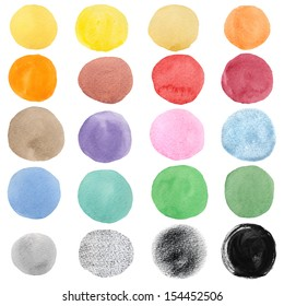 Isolated colorful watercolor round spots