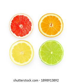Isolated composition with citrus fruits, on white background, flat lay. High quality photo