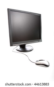 Isolated computer screen with mouse on white background.