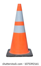 An isolated construction pylon used for marking safety zones.