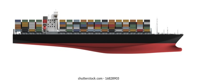 isolated container ship over white