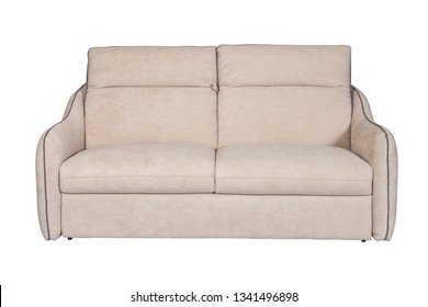 Isolated contemporary beige sofa