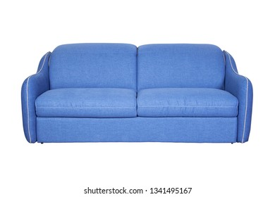 Isolated contemporary blue sofa