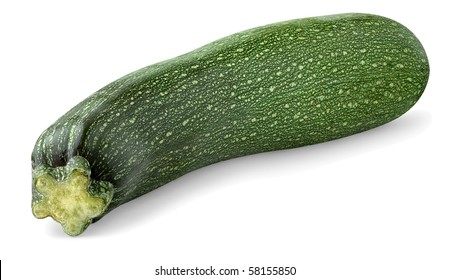 Isolated courgette. One fresh whole zucchini on white background