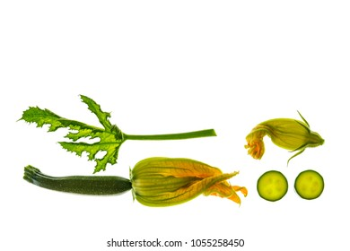 isolated courgettes with leaf and flowers on white background