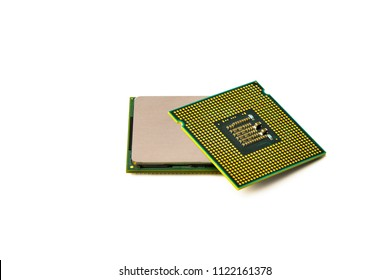 Isolated CPU or central processing unit on white background, two CPU and two socket type studio shooting