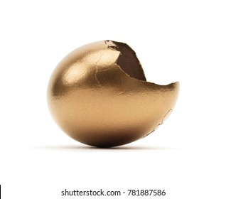 Isolated Cracked Gold Egg Shell