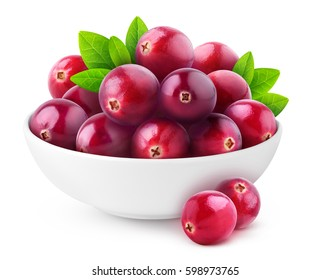 Isolated cranberries. White bowl with heap of fresh cranberry fruits isolated on white background with clipping path