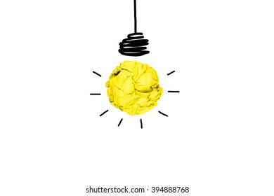 isolated creative inspiration from colorful concept crumpled paper light bulb metaphor for good idea concept on white background / solution thinking answer