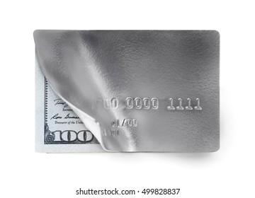 Isolated credit card with a one hundred dollar bill on a white background.