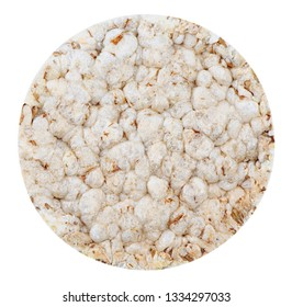Isolated crispbread. One round rice bread isolated on white background with clipping path. Top view.