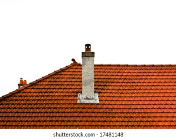 isolated crop of orange roof tiles