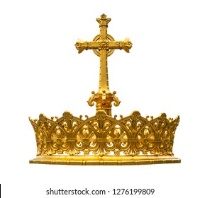 Isolated crown gold details on a white background.